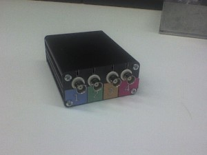 How it looks like in box. In front there are four BNC connectors, in rear there is a micro usb port.